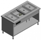 Bain marie counter/ table with 4 GN1/1x100 pans